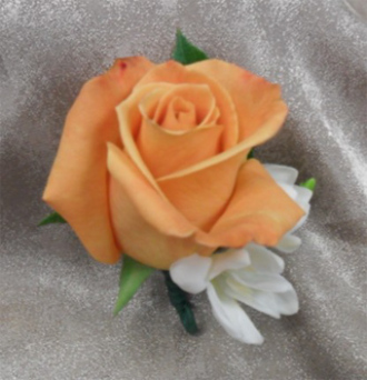 Rose w/Fresia Boutonniere