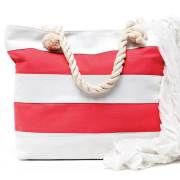Coral Striped Beach Bag