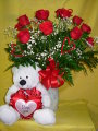 DOZEN ROSES WITH I LOVE YOU BEAR