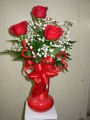 VALENTINES 3 RED ROSE VASE