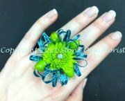 Turquoise and Green Ring Corsage