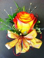 Yellow and Red Rose Corsage