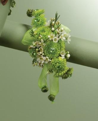 Green Button Pompon Wrist Corsage