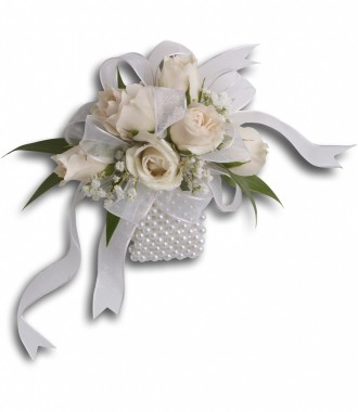 Rose and Pearl Corsage