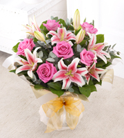 Pink Rose and Lily Hand Tied