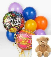 Birthday Balloons and a Teddy Bear