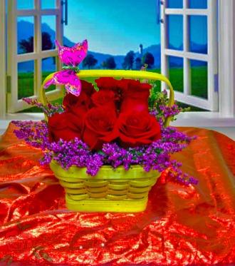 Spring Rose Basket