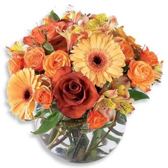 Autumn Elegance, roses, daisies, lilies, thanksgiving