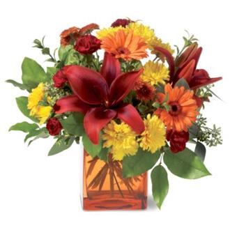 Autumn Awe, lilies, gerberas, chrysanthemums, carnations, eucalyptus, thanksgiving