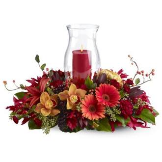 Harvest Hurricane, orchids, lilies, gerberas, centerpieces