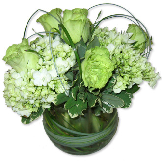 Green Elegance Bubble Bowl, roses, hydrangea, thinking of you, friendship