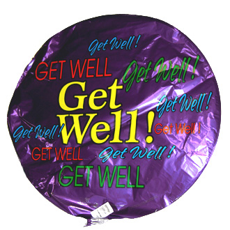 Get Well Balloon, containers and accessories