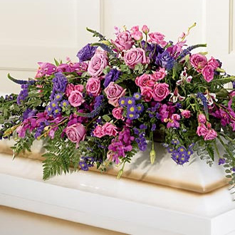 Blanket of Flowers Casket Spray, roses, orchids, lisianthus, veronica, statice, eucalyptus, sympathy and funeral