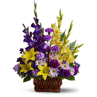 Basket of Memories, lilies, gladioli, carnations, daisy chrysanthemums, sympathy and funeral