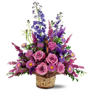 Gentle Comfort Basket, roses, asters, delphinium, sympathy and funeral