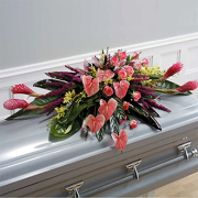 Loving Embrace, tropical, anthurium, ginger, orchids, roses, sympathy and funeral
