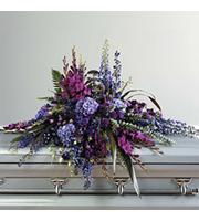 Purple Casket Spray, gladiola, stock, trachelium, carnations, delphinium, larkspur, statice, lisianthus, liatris, sympathy and funeral