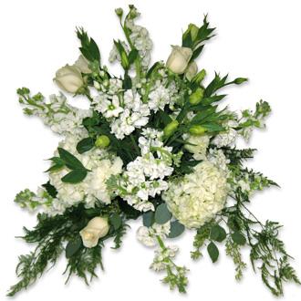 Classic White Arrangement, roses, hydrangea, stock, snapdragon, wedding centerpiece, ceremony