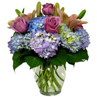 Rose and Hydrangea Arrangement, lilies, anniversary