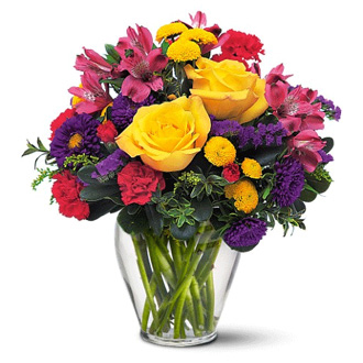 Brighten Your Day, alstromeria, asters, carnations, chrysanthemums, birthday
