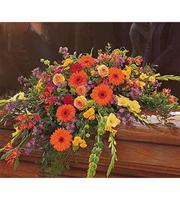 Blooming Glory Casket Spray, daisies, gladiolus, roses, sympathy
