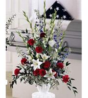 Patriotic Tribute, delphinium, carnations, lilies, sympathy