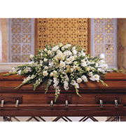 Cherished Moments Casket Spray, gladiolus, snapdragons, larkspur, sympathy