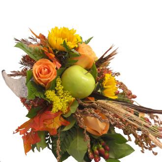Bountiful Harvest Cornucopia, sunflowers, roses, hypericum, wheat, apples, centerpieces