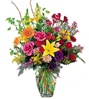 Sunshine Daydream, lilies, alstroemeria, roses, daisies, snapdragons, poms, lisianthus, montecasino, year round, birthday, anniversary, new baby, congratulations, thank you, get well, sympathy