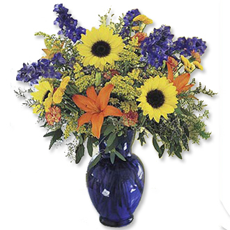 Brilliant in Blue, sunflowers, lilies, delphinium, aster, eucalyptus, year round, birthday, anniversary, new baby, congratulations, thank you, get well, sympathy
