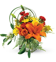 Bright and Sunny Birthday Bouquet, lily grass, roses, daisies, lilies, birthday