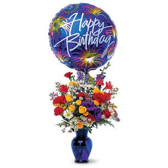 Birthday Fireworks, carnations, roses, birthday