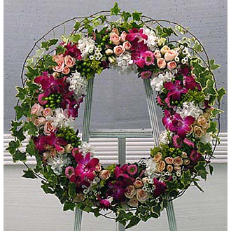 Eternity Wreath, roses, hydrangea, orchids, ivy, sympathy and funeral