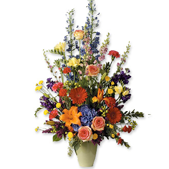 Warm Embrace, delphinium, roses, daisies, sympathy and funeral