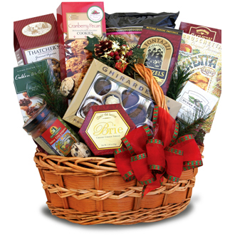 Holiday Bounty Gourmet Basket Christmas cookies popcorn almonds chips salsa pretzels brie chocolates
