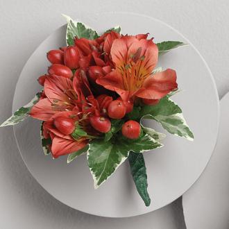 Embraceable You Boutonniere, alstromeria, hypericum berries, corsages & boutonnieres