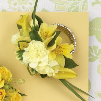 Sun Kissed Wrist Corsage, alstroemeria, carnations, calla lilies, corsages & boutonnieres