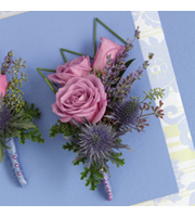 Purple Passion Boutonniere, rose, thistle, corsages & boutonnieres