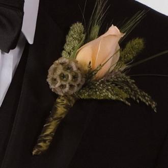 Peach Promise Boutonniere, rose, corsages & boutonnieres