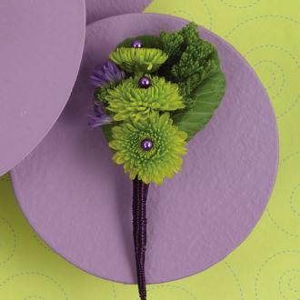 Celebration Boutonniere, mum, greens, corsages & boutonnieres