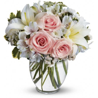 Elegant Style, roses, lilies, alstromeria, mums, wedding centerpieces