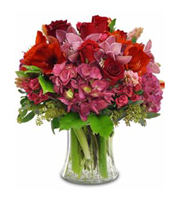 Blushing Beauty, hydrangea, roses, orchids, year round