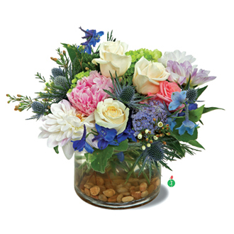 Breathtaking Blossoms, roses, thistle, hydrangea, congratulations, friendship, get well