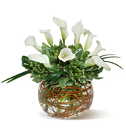 Calla Lily Bowl, calla lilies, hypericum berries, sympathy and funeral