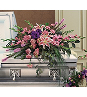Graceful Tribute Casket Spray, hydrangea, roses, delphinium, sympathy and funeral