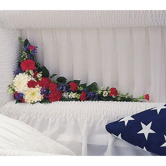 Patriotic Spirit Cluster, carnations, chrysanthemum, delphinium, sympathy and funeral