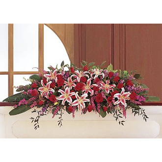 Amethyst and Ruby Casket Spray, roses, heather, lilies, larkspur, sympathy and funeral