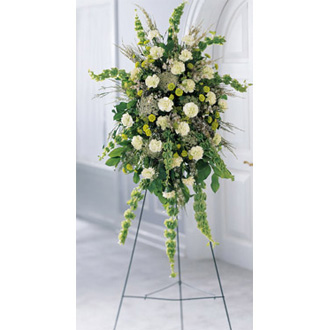 Splendor Standing Spray, carnations, waxflower, bells of ireland, queen anne\'s lace, sympathy and funeral
