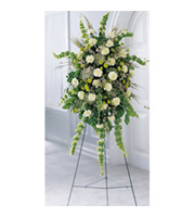 Splendor Standing Spray, carnations, waxflower, bells of ireland, queen anne's lace, sympathy and funeral