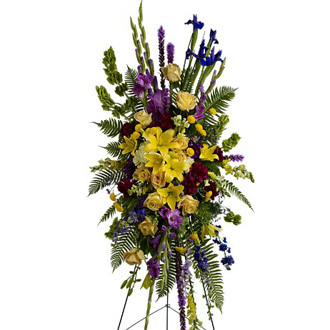 In Loving Memory Spray, roses, lilies, iris, gladioli, snapdragons, carnations, sympathy and funeral